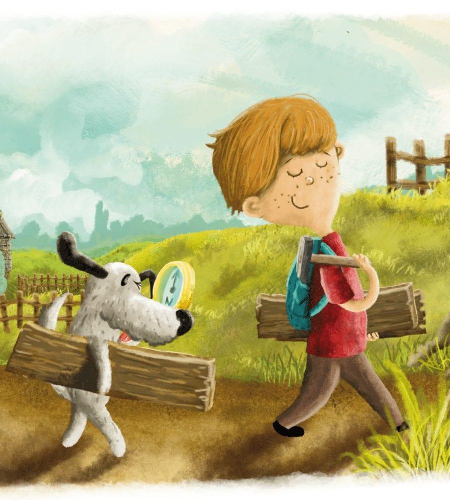 ilustracje chłopiec i pies