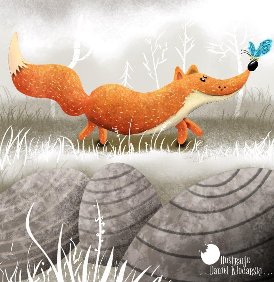 ilustracja dla dzieci lis i motyl